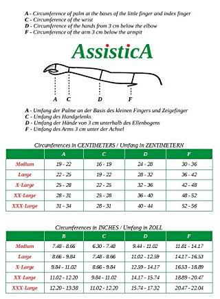 ASSISTICA Arm Compression Sleeve Size Chart