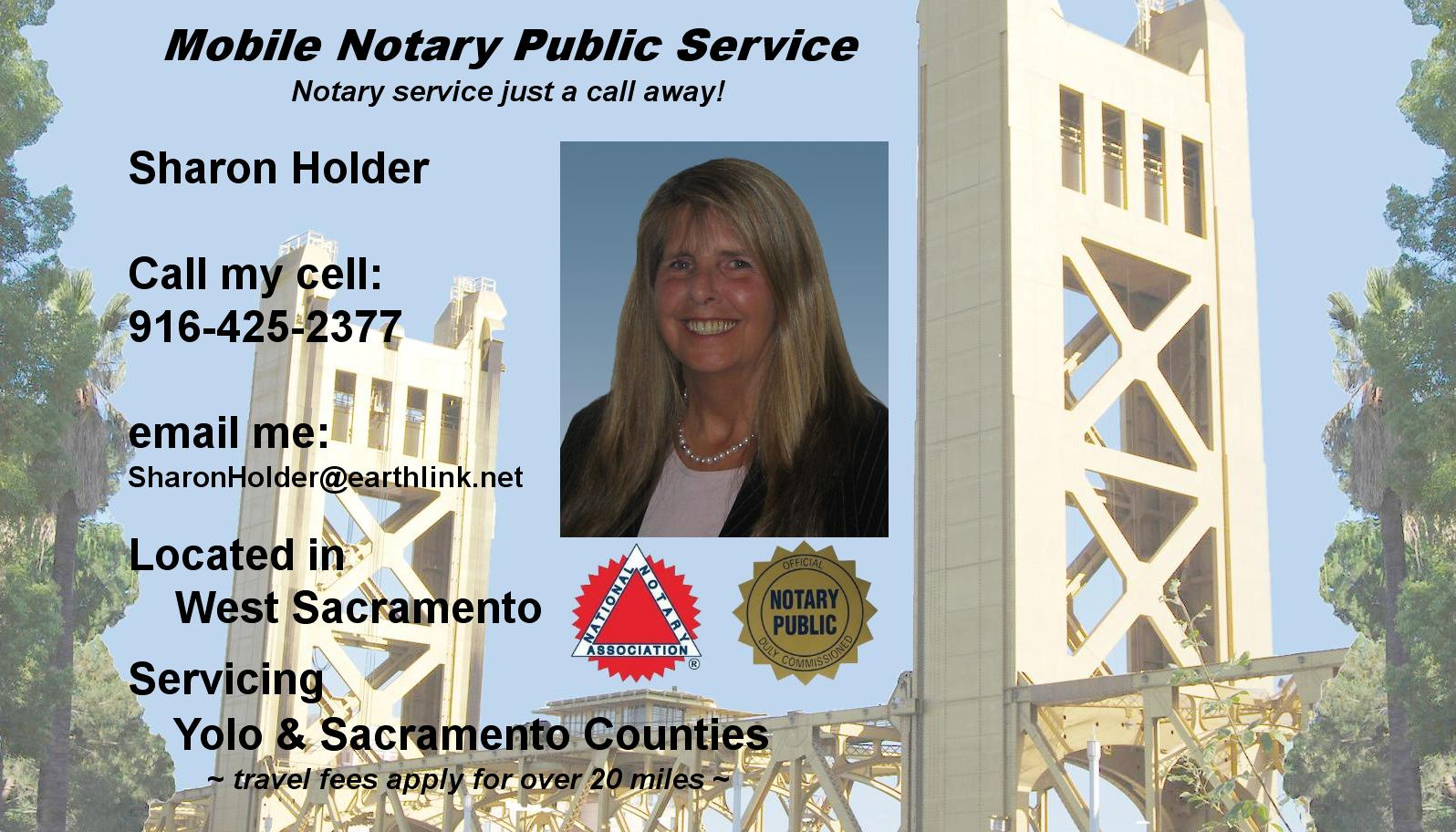 Sharon Holder, Mobile Notary Public Service, Yolo and Sacramento Counties